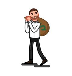 man caring big money bag vector image