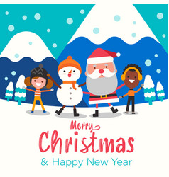 merry christmas happy christmas companions santa vector image