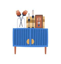 Mid-century two-door cabinet on wooden legs vector