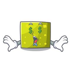 money eye square mascot cartoon style vector image