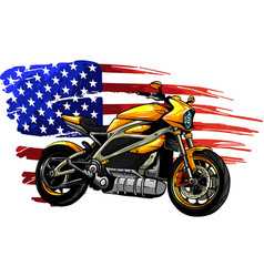 motorbike with american flag vector image