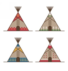 Native american tipis with traditional decor vector