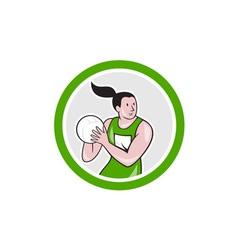 Netball Player Catching Ball Circle Cartoon vector image