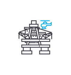 oil platform linear icon concept oil platform vector image