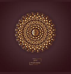 Ornamental gold flower oriental mandala on vinous vector
