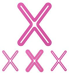 Pink line x logo design set vector image