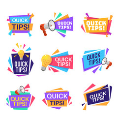 quick tip labels helpful tricks and advice vector image