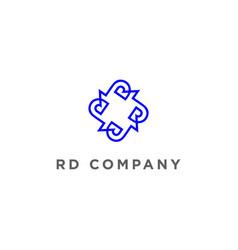 r d initial logo design vector image