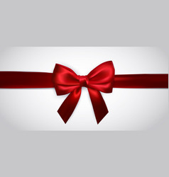 realistic red bow with red ribbons isolated vector image