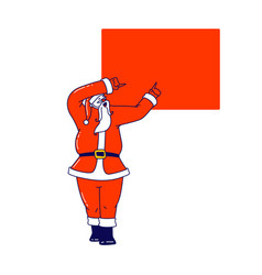 santa claus pointing on red square mockup empty vector image