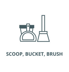 scoop bucket brush line icon linear vector image