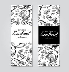 Seafood banner template set hand drawn vector