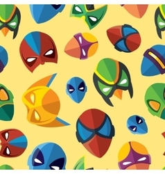 Seamless pattern super hero masks in flat style vector