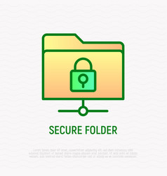 Secure folder thin line icon vector