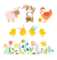 set cute easter characters and design elements vector image