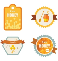 Set of honey and bee labels product icons vector image