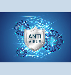 silver shield with virus or bacteria cells vector image
