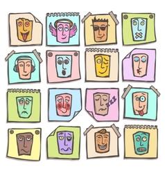 Sketch emoticons stickers set vector