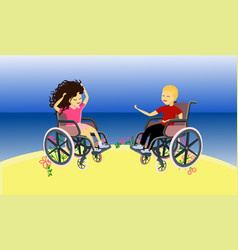 Social life people with disabilities children vector