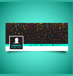 Social media timeline cover with confetti design vector