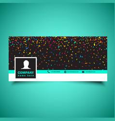 Social media timeline cover with confetti design vector