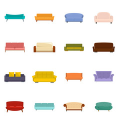 sofa chair room couch icons set isolated vector image