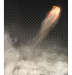 Space rocket trail smoke isolated on transparent vector