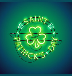 st patricks day neon sign vector image