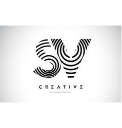 sv lines warp logo design letter icon made vector image