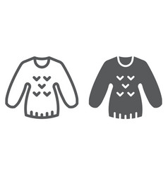 sweater line and glyph icon clothing and pullover vector image