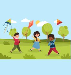 three happy smiling diverse little children vector image