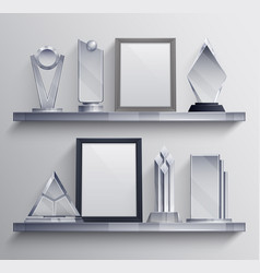 trophies shelves set vector image
