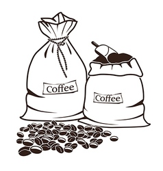 Two sacks with coffee and coffee beans vector