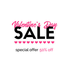valentines day sale banner discount template vector image