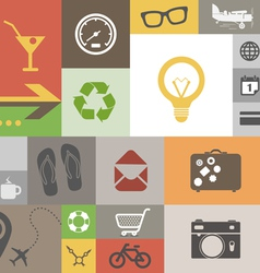 Vintage style squares with icons vector image vector image