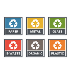waste sorting labels set waste managment for vector image