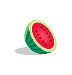 Watermelon fruit cut in half bright icon vector