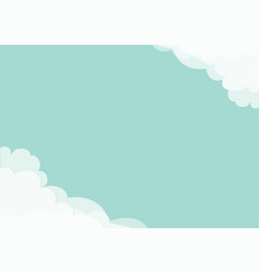 white cloud in corners frame template blue sky vector image