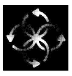 White halftone knot rotation icon vector