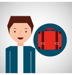 Young guy suitcase tourist traveler vector