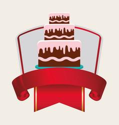 birthday card cake banner vector image