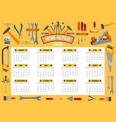 calendar 2018 template of work tools vector image vector image