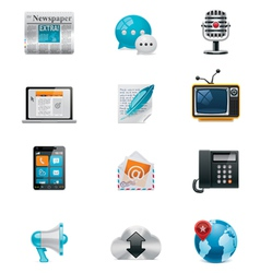 Communication and social media icon set 1 vector