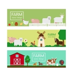 Farm animals flat style banner templates vector image vector image