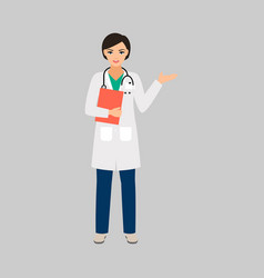 female character of phlebologist vector image