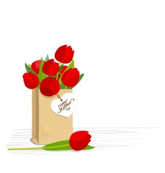 Red tulips in brown paper bag vector image vector image