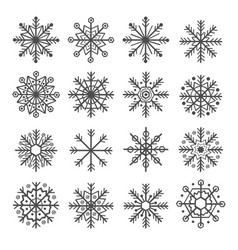set of isolated decoration snowflake vector image vector image