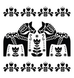 Swedish dala or daleclarian horse black and white vector