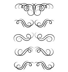 Swirl elements and retro monograms vector image