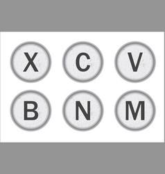 Typewriter keys xcvbnm vector